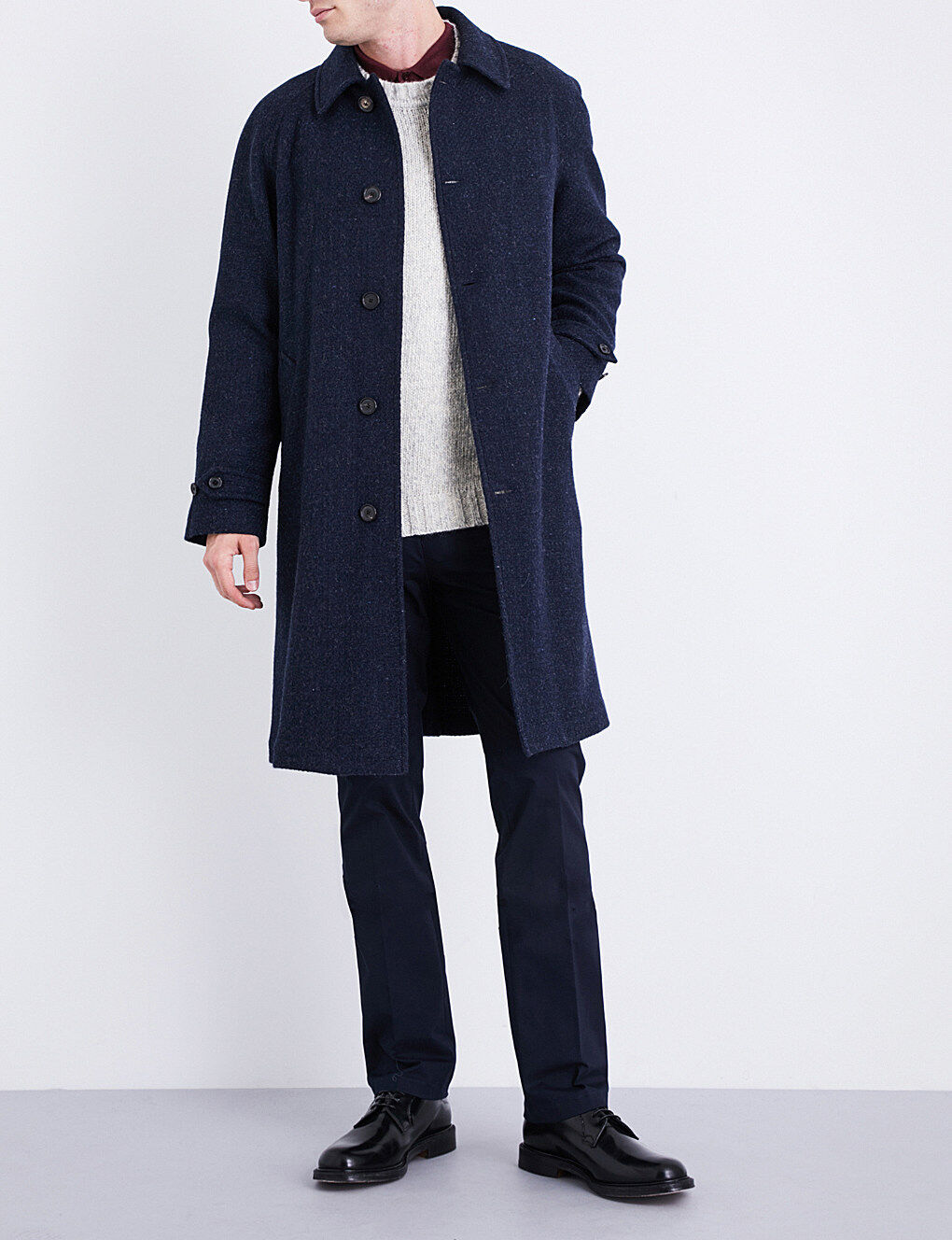 2,995 Ralph Lauren lila Label Navy Basket-weave Wool Trenchcoat Topcoat 40R
