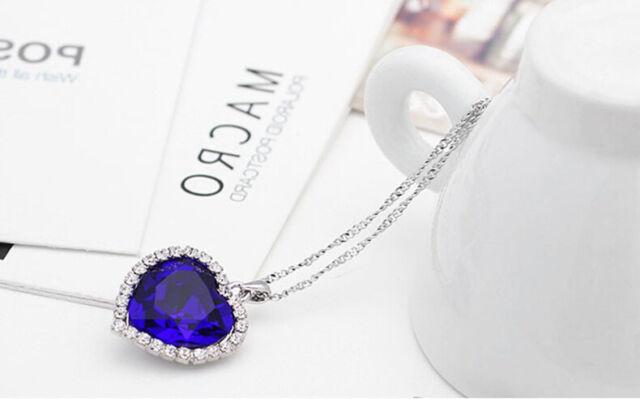Elegant Metal Silver Titanic Rose Heart Of Ocean Pendant Necklace   eBay