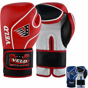 VELO-Boxing-Gloves-MMA-Leather-Fight-Sparring-Punch-Bag-Training-Mitts-Muay-Thai