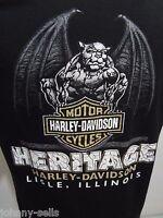 Harley Davidson Motorcycles Mens L Heritage Lisle IL Black Cotton T-Shirt