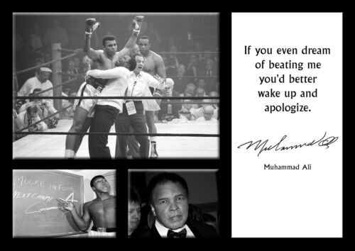 Muhammad Ali 9 Famous Quote Boxing Star Legend Signed Poster Black White Photo