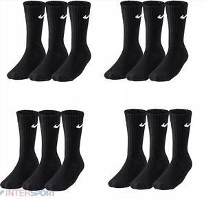 12 Paar Nike Sport/Tennis Socken schwarz oder weiß  Gr. 34-50 Crew SX4508 *NEU*