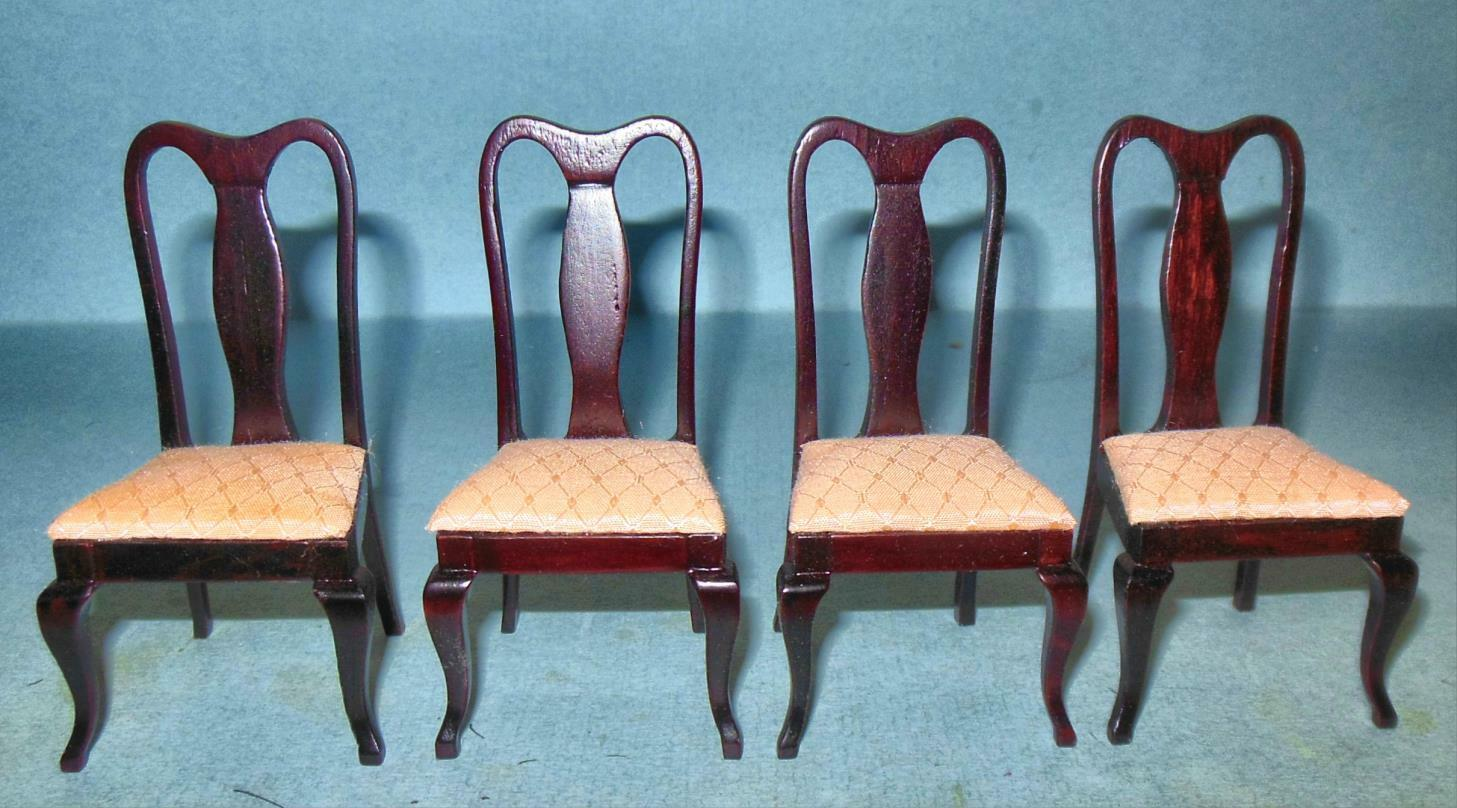 Egg Chair Aanbieding.4 Vintage Deluxe Chairs Dark Mahogany 843 Dollhouse Furniture