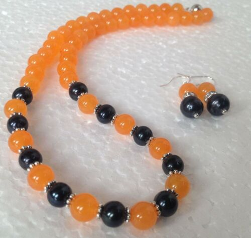 "8-9 Mm Black Akoya Cultured Pearl//Orange Jade Collier 18/"" Boucles d/'oreilles Set PN629"