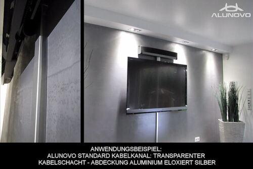 Transparenter Kabelkanal mit Adeckung in mattschwarz eloxiert Kabelschacht