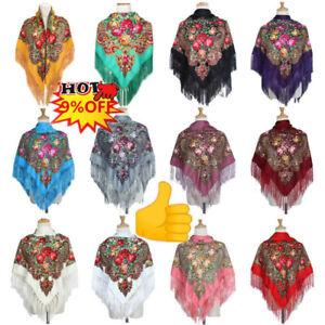 Womens Scarves Russian Big Size Square Cotton Long Tassel Print Shawl