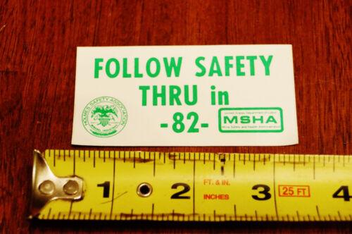 US Department of Labor MSHA Miner Helmet Safety Decal 1982