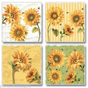 Mixed-Absorbent-Stone-Coasters-Set-4-Cheery-Yellow-Sunflowers-Flowers