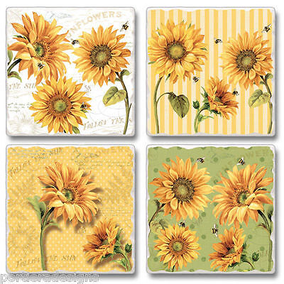 Mixed Absorbent Stone Coasters Set 4 Cheery Yellow Sunflowers Flowers