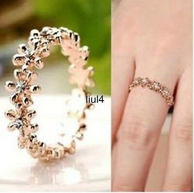 18K GP Gold Swarovski Crystal snowflake Ring 5.5/6/7/8/9 Size