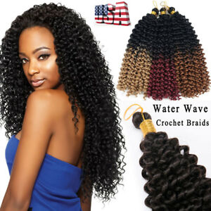 100 Natural Water Wave Crochet Braids Long Deep Curly Human Hair