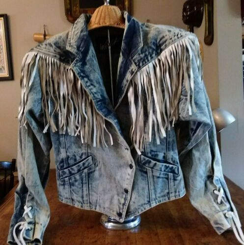Vintage Winlit Acid Washed Denim Jacket, White Lea