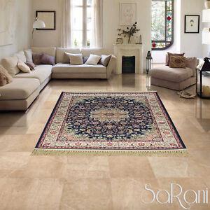 Carpet-Classic-Eastern-Persian-Effect-Silk-Fringe-Gold-Furnishing-SARANI