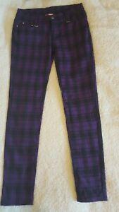 Violet-Tartan-Carreaux-Skinny-Punk-Emo-Stretch-Pantalon-Banned-Apparel-taille-L