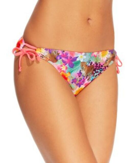 California Waves Bikini Bottoms Sz S Multi Color Floral Side Tie Swimwear Swim