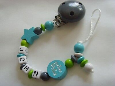 Schnullerkette mit Namen ☆ Prinz /& Sterne ☆ weiß blau grau ☆ Junge Baby Geschenk