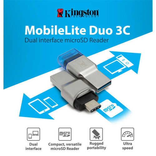 Kingston MobileLite Duo 3 C Micro Sd Sdhc Sdxc Lector de Tarjetas USB 3.0 3.1 OTG de tipo C
