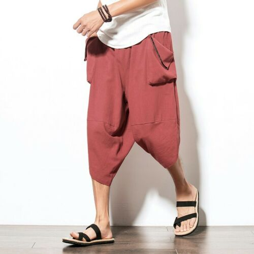Men/'s Harem Pants Cropped trousers Saggy Pocket Summer Chinese style Leisure B