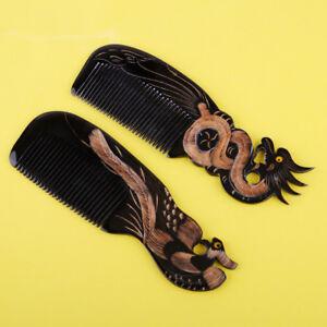 Handwerk-Natur-OX-HornKamm-Haarpflege-Massage-Drachen-Phoenix-Geschnitzt-Haarkamm