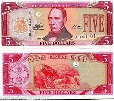 LIBERIA 5 DOLLARS UNC # 586
