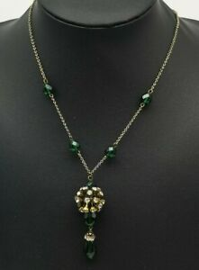 Period-Art-Deco-Vintage-Emerald-Czech-Glass-amp-Old-Cut-Paste-Lavalier-Necklace
