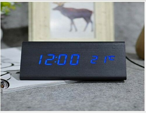 New Voice Control Calendar Thermometer Wooden LED Digital Alarm Clock USB//AAA