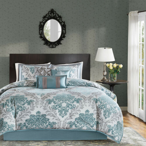 NEW BEAUTIFUL MODERN CHIC ELEGANT GREY LIGHT AQUA BLUE WHITE SOFT COMFORTER SET
