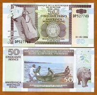 Burundi, 50 Francs, 2006, Pick 36 (36f), UNC   Hippo