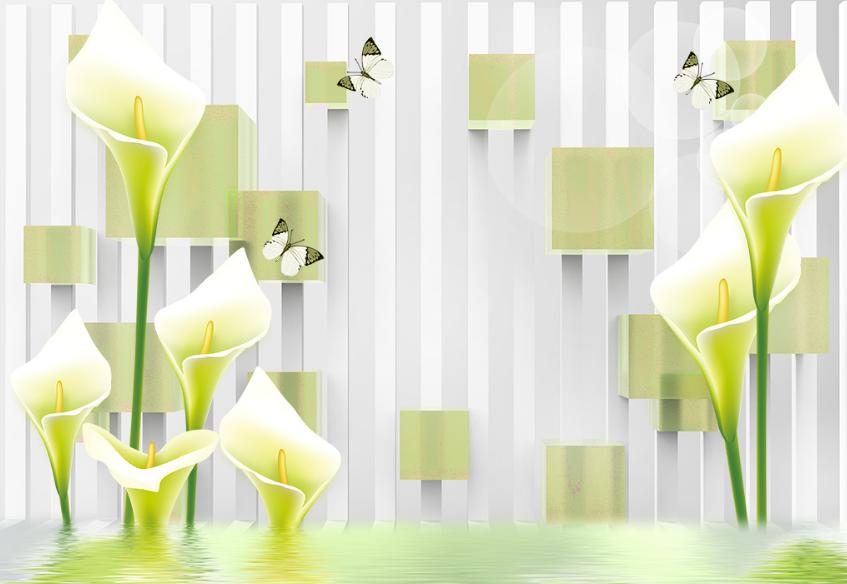 Papel Pintado Mural De Vellón Diseño De Paisaje Mariposas Flor 2 Paisaje De Fondo Pantalla af60f5