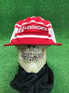 Vintage-Kenworth-Trucks-Red-White-SnapBack-Trucker-Mesh-Hat-Cap-USA-Made