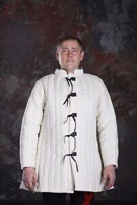 Gambeson mediaval White hauber bohurt armor archer arthur Padded Armpits jacket