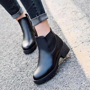 4c9edc4a39d6 Fashion Women Chunky Platform Ankle Boots Heel High Chelsea Slip On ...