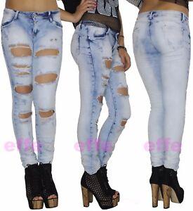488aa8d422 Dettagli su Jeans donna strappati vita bassa Denim skinny slim pantaloni  elasticizzati nuovo