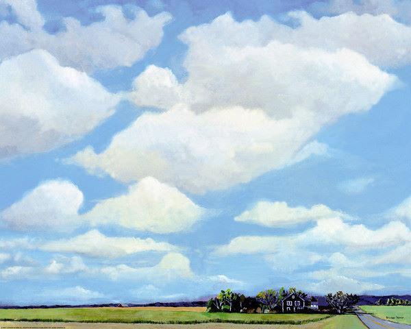 Steven Romm  Watermill North Keilrahmen-Bild Leinwand Wolken Himmel Landschaft