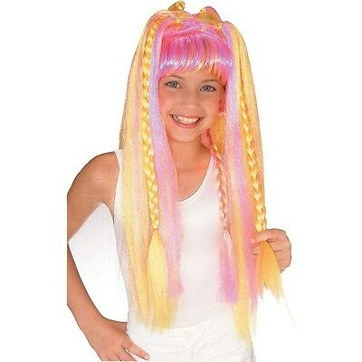 Rubies Child Girls Halloween Funky Diva Wig Long Yellow and Pink Costume 50899