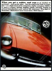 1966 Mg Mgb Red Car Nice Close Up Color Photo Uk Vintage Print Ad Ebay