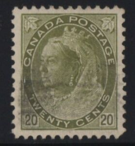 MOTON114-84-Numeral-20c-Canada-used-well-centered-XF-cv-160