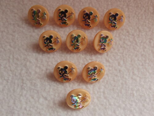 """BABY//CRAFT 10 x PEACH /& /""""SILVER/"""" TEDDY with KNAPSACK BUTTONS ~ 22L 14mm"""