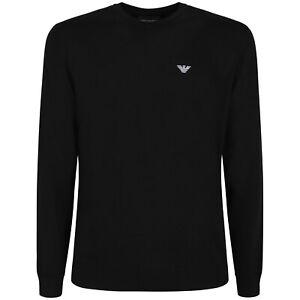 EMPORIO-ARMANI-Maglione-girocollo-nero-con-logo-a-contrasto-per-uomo-P-E-202