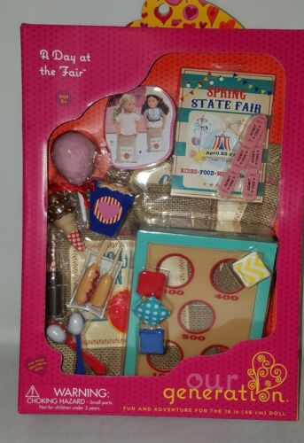 "New Our Generation OG 18/"" Girl Doll A Day At American Fair Food Games Playset"