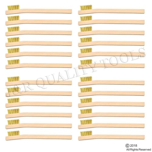 24 INDUSTRIAL BRASS WIRE BRUSH TOOTH BRUSHES WOOD HANDLE