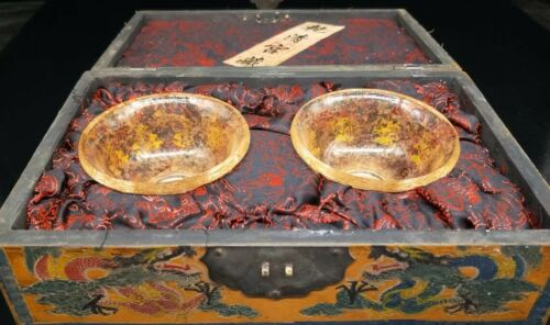 Chinese Qing Dynasty palace Collection Crystal bowl a pair Box