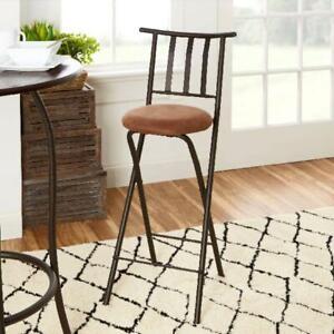 Enjoyable Details About Folding Bar Stools Slat Back 30 Inch Bronze Beige Home Kitchen Dining Chair Seat Spiritservingveterans Wood Chair Design Ideas Spiritservingveteransorg
