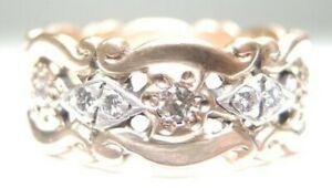 Antique-Vintage-Estate-14K-Two-Tone-Diamond-Wedding-Eternity-Band-Ring-Size-7-25