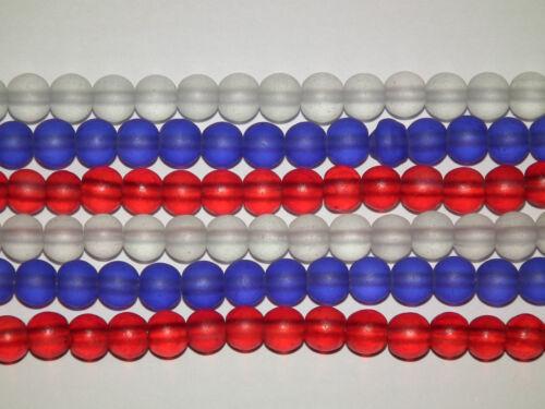 50 6mm ronda granos de vidrio esmerilado en rojo blanco y azul BD16