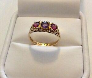 Beautiful-Ladies-Vintage-Heavy-18-Carat-Gold-Amethyst-amp-Red-Tourmaline-Ring