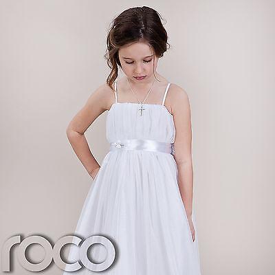 Girls White Hoop Dress Bridesmaid Prom Wedding Flower Girls Dresses 1 - 14 Years