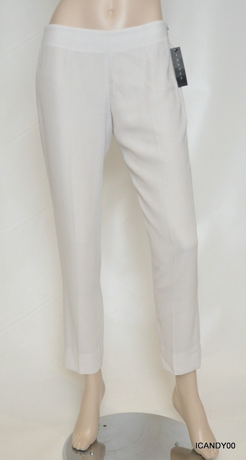 Nwt  270 Theory BELISA Hydric Crepe Wool Blend Crave Slim Pants Trouser Ivory 8
