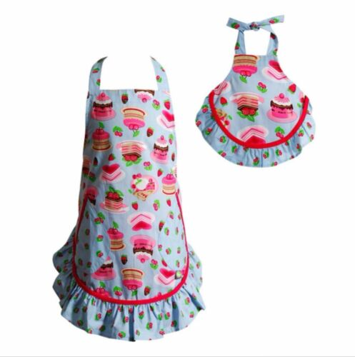 "Dollie /& Me Girls Sweet Desserts Cakes Apron Set 2 pockets 18/""x23/"" fits 18/"" doll"