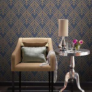 Astoria Art Deco Papier Peint Bleu Fonce Dore Rasch 305340 Neuf